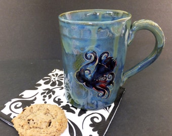 Extra Large Octopus Mug, Hand Built Ceramic Pottery Mug