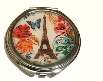 Eiffel Tower Accessory - Paris France - Compact Mirror - Party Favor - Bridesmaid gift