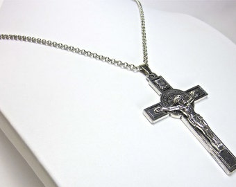 Silver Necklace with Steel Jesus Christ Cross Pendant Fashion Chain halsketting