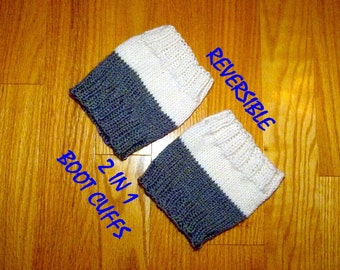 Boot Cuffs, Reversible,  Leg Warmer, Boot Socks, Boot Toppers