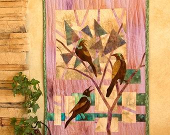 Hand painted fabric art quilt, wallhanging  - Grackles - fiber art