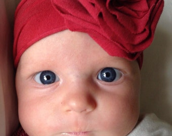 Beautiful Jersey knit flower headband-- Newborn to 2 years old-- 25 colors available Color shown is Dark Red