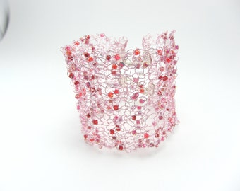 Pale pink beaded knitted wire cuff, Hand knitted bracelet, Jewellery