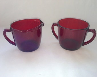 Anchor Hocking Glass Royal Ruby Creamer and Sugar Set