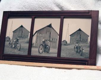 Multi-frame 3 - 5x7 inch prints of a Harley-Davidson Kuncklehead