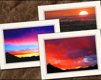 3 Sunrise Note Cards - Sunrise Photo Note Cards - 5x7 Sunrise Cards - Blank Note Cards - Sunrise Greeting Cards - Nature Note Cards (SU2)