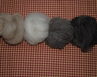 Shetland Wool Loose Roving - available in 4 lovely colors!