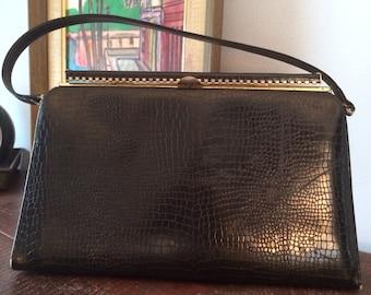 vintage 60s handbag/mock croc//black