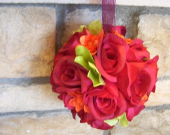 Leah's Burgundy Rose Kissing Ball, Flower Girl,Pomander, Rose Ball,Burgundy,Orange,Lime