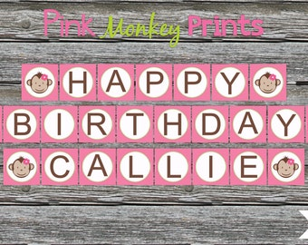 DIY - Girl Mod Monkey Birthday Party Name Banner # 197- Coordinating Items Available