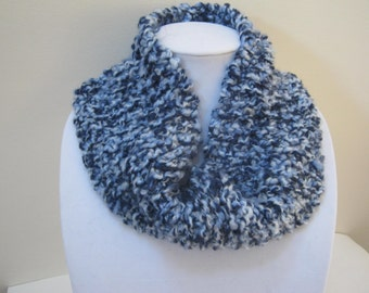 Knit Chunky Infinity Scarf Blue Circle Scarf Winter Accessories Woman Teen For Her Gift Idea