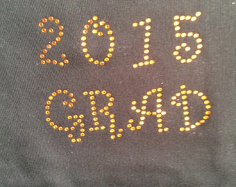 Orange Rhinestone 2015 Grad Shirt