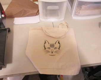 Kitty Face Canvas Tote Bag