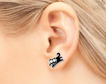 Sterling Silver Kitty Earrings