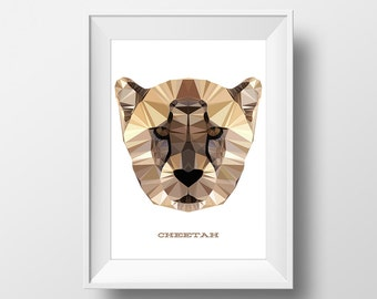 Digital Download Cheetah Geometric Poster Print Art - Boys Room - 8x10, 11x14 Nursery Poster
