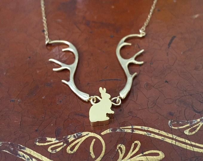 Rabbit with Antlers Gold Necklace - Jackalope, Deer Antlers, Fantasy, Forest