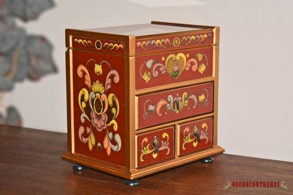 Handmade Medium Glass Jewelry Box, 'Treasure Box' - Wood & Glass Red Jewelry Boxes - Birthday gifts - Wooden Chests Handmade- Treasure Chest