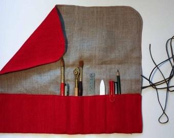 Tool case/ Tool roll holder in 100% linen