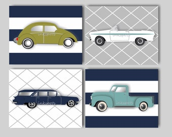 Car Nursery Bedding Decor Transportation Nursery Bedding Decor Baby Boy Nursery Art Vintage Car Print Collection Choose Colors VC9110