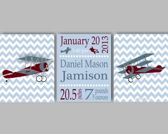 Vintage Airplane Nursery Art for Boys Nursery Airplane Decor Boys Room Birth Statistics Chevron Airplane Prints Airplane Decor AP1902