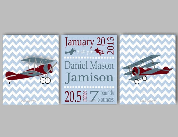 Vintage Airplane Nursery Art For Boys Nursery Airplane Decor