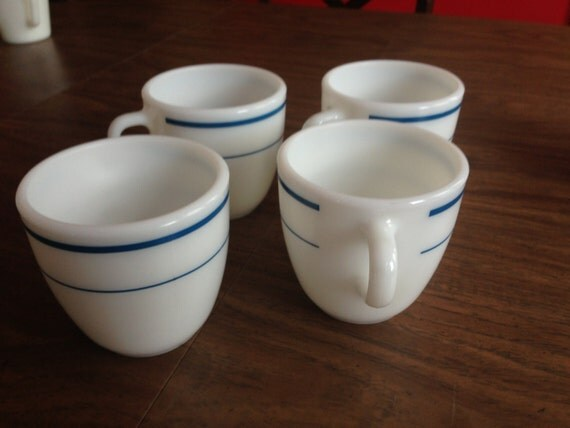 VINTAGE Set of 4 Navy and White Striped Milk by ...