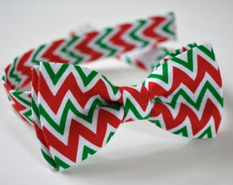 Boys bow tie, Red and green  bow tie perfect for Christmas