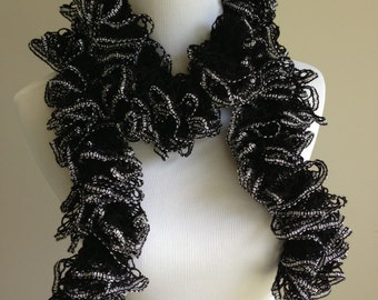 Hand Knit Ruffle Spiral Scarf in Black and Silver