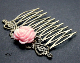 Metal comb bronze flower pink paillette