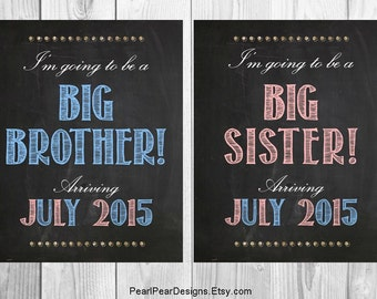 I'm going to be a Big Brother I'm going to be a Big Sister Chalkboard digital file - Announcing baby/ pregnancy announcement 8x10 or 16x20