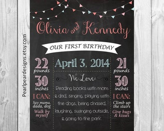 TWINS CUSTOM Birthday Chalkboard Banner First Birthday Chalkboard Stats Printable One Year Girl/Boy - Monthly/ First year cupcake