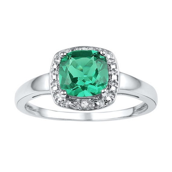 1 75 synthetic emerald sterling silver ring great