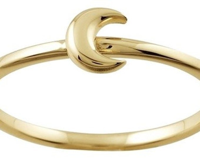 Designer 14K Yellow Gold Stackable Ring with Crescent Moon Accent ~ FREE SHIPPING