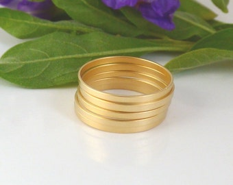 Matte Gold rings -  5 Above the Knuckle Rings - Plain Band Knuckle Rings, Matte gold thin rings - set of 5 midi rings, unique gift for her