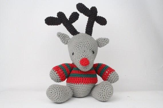 Amigurumi Cotton Yarn : Items similar to Amigurumi crochet reindeer in recycled ...
