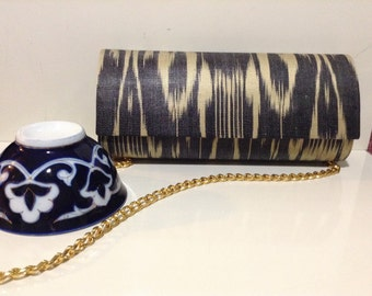 Hand dyed ikat clutch