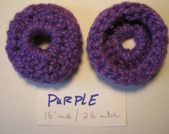 PURPLE Thick -  Ear Pads/Cushions/ Cookies for Phone Headset, Call Center, Hand-crochetted, NEW.