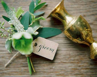 Handwritten calligraphy kraft name tags for your wedding