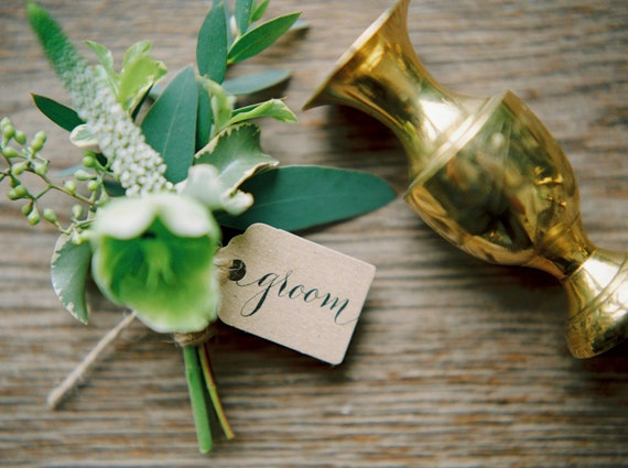 Handwritten calligraphy kraft name tags for your by byMoonandTide