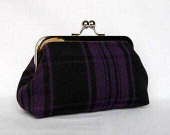 Clutch Purse, Clutch Bag, Royal Purple and Black Tartan Clutch, Framed Clutch Purse