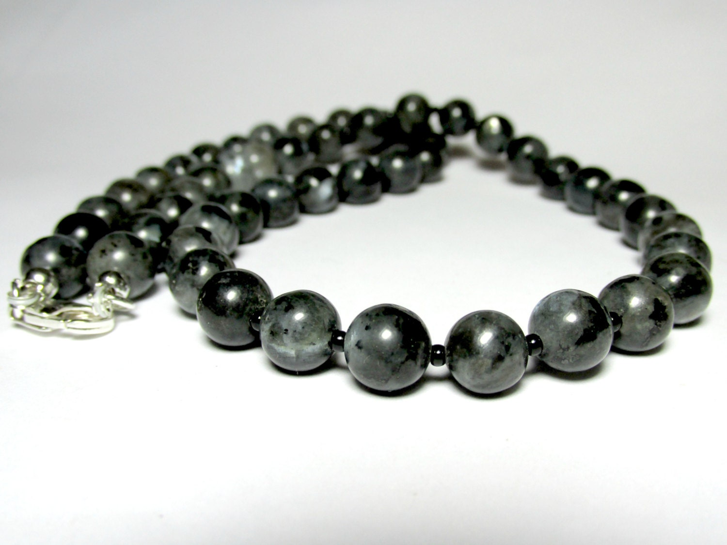 Mens Larvikite Necklace Mens Beaded Necklace Gemstone