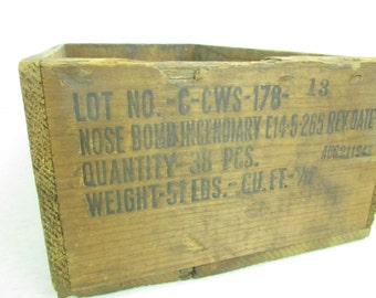 Antique Ammo Box, Military Crate, wood box, vintage crate, wooden crate, vintage wood box, Bomb Crate, Weapons Crate,
