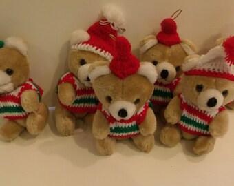 6 Mini Christmas Bear Ornaments