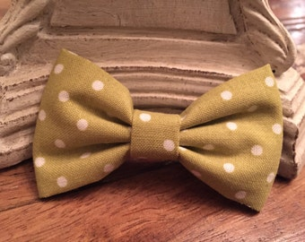 Cloth Bow Hair Clip - Light Green with Polka Dots-- by Antique Elephant