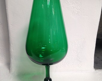 Emerald Green Empoli Tall Large Blown Glass Snifter Vase