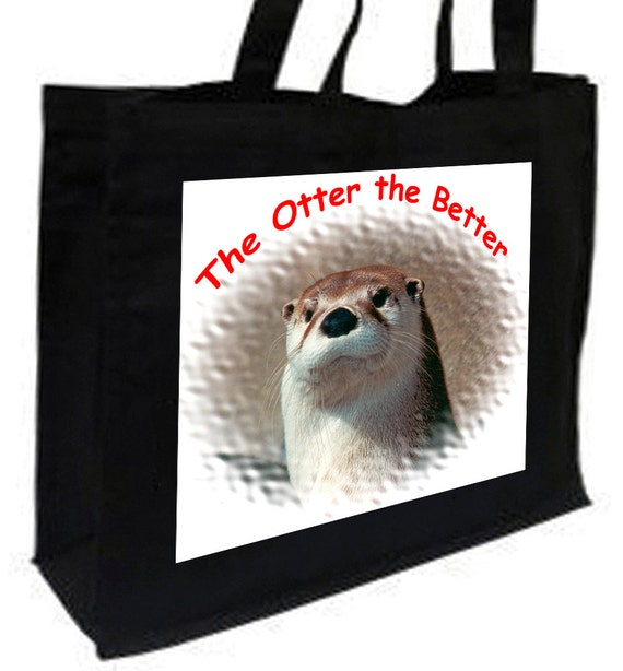 Otter the Better, Otter Cotton Shopping Bag with gusset and long handles, 3 colour options