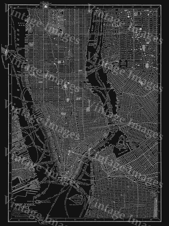 New york city manhattan street map vintage black poster new like this item sciox Image collections