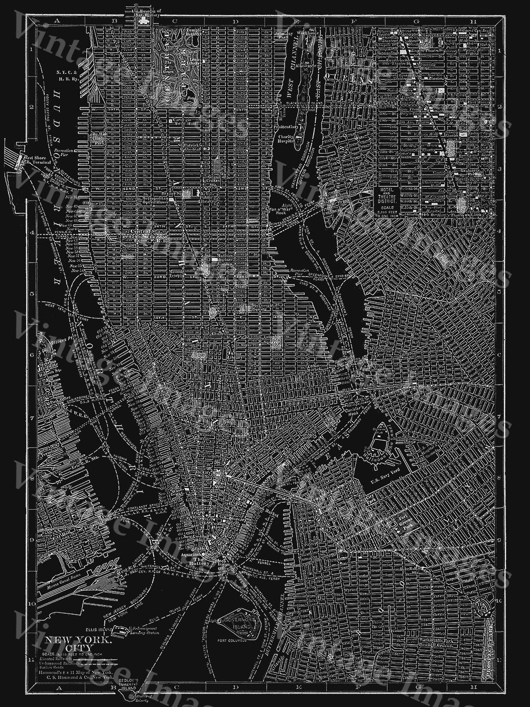 New york city manhattan street map vintage black poster new york new york city manhattan street map vintage black poster new york antique architectural blueprint style giant wall map fine art map print malvernweather Image collections