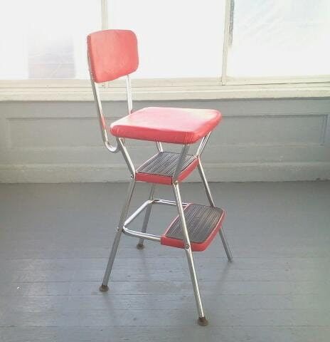 Cosco Kitchen Chair Chair And Step Stool Combo Red Vinyl And