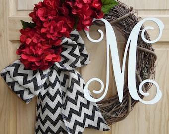 Hydrangea wreath - Grapevine wreath - Monogram wreath -  Personalized wreath - monogram wreath